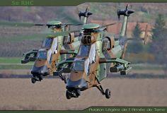 Pair of French Armée de Terre Eurocopter EC665 Tigre attack helicopters. Aviation Légère de l'Armée de Terre translates as Army Light Aviation.