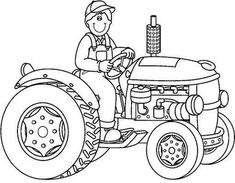 Farmer on tractor … Tractor Coloring Pages, Colouring Pages, Farm Animal Crafts, Farm Animals, Animal Sketches, Animal Drawings, Painting Patterns, Fabric Painting, Bus Crafts