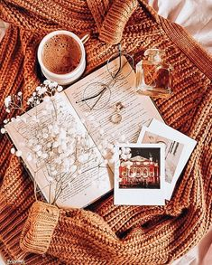 lovely sweater, book and coffee combo