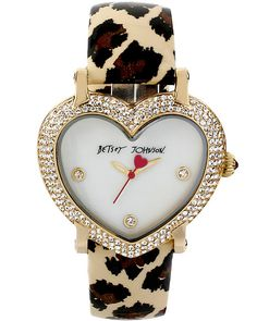 HEART SHAPED DIAL AND LEOPARD STRAP LEOPARD accessories jewelry watches fashion