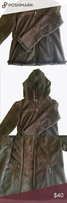 Jones New York Faux Fur Chocolate Brown Coat Excellent used condition! Faux fur inside, super soft. Faux suede on outside. 2 zippers in front, hood, buttons in back. Cuffed with fur. Jones New York Jackets & Coats
