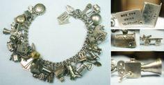 Fab 1940s Bracelet 40 Iconic Charms Mechanicals Vintage Silver Charm Bracelet | eBay