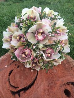 Cymbidium orchid and blushing bride bouquet.