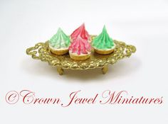 OOAK 1:12 Red & Green Whipped Cream Christmas Tarts on Gold Pedestal by Crown Jewel Miniatures by CrownJewelMiniatures on Etsy https://www.etsy.com/listing/173410568/ooak-112-red-green-whipped-cream