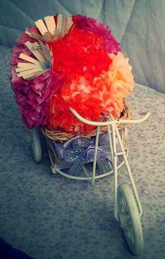Carrito con flores