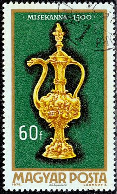 Hungary.  Hungarian Goldsmiths' Art, Altar burette, 1500. Scott  2046 A454, Issued 1970, Oct., Photo., Perf. 12, 60. /ldb. Hungary, Altar, Stamps, Symbols, Europe, Seals, Icons, Postage Stamps, Glyphs