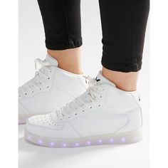 Wize & Ope Light Up Sole Hi Top Trainers ($110) ❤ liked on Polyvore featuring shoes, sneakers, white, metallic shoes, synthetic shoes, white chunky shoes, white hi tops and metallic high top sneakers