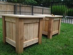 [pallet alert] Yesterday I finished two cedar wood planter boxes. They are twenty four inches square ( height, width,and deep) with a shelf that is seven inches from the top. I used pocket hole joints but used coated deck screws with exterior wood glue. I made it for my daughter, she showed me something in a garden center and ask if i could do better and cheaper. The answer was yes on both accounts. I think I did pretty good job too.