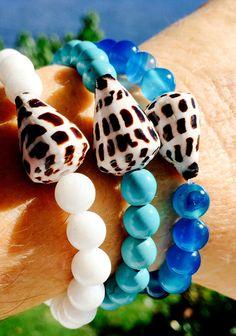 White Jade & Shell Beaded Stretch Bracelet.  Hawaii Cone Shell Stretchy Stacking Bracelet.  Seashell and White Gemstone Stretch Bracelet by KailuaKai on Etsy https://www.etsy.com/listing/253226062/white-jade-shell-beaded-stretch-bracelet