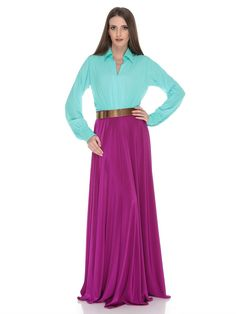 Lovely Xela Aqua Green, Magenta and Gold Dress with spread collar, long sleeves, ankle length, sash belt on waist  * Material: chiffon and jersey * Origin: Designed and Manufactured in UAE