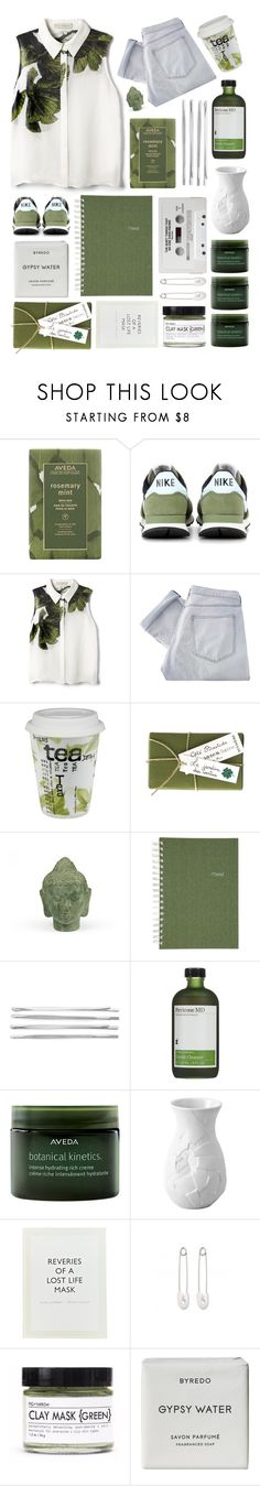 """// 103 //"" by rachthecookie ❤ liked on Polyvore featuring Aveda, NIKE, Elle Sasson, Shine, Könitz, Jayson Home, Puji, Mead, Cara and Perricone MD"