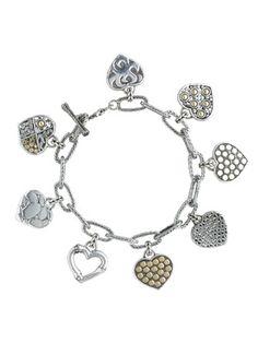 John Hardy Gold & Silver Hearts Charm Bracelet