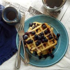 Blueberry Cornbread Waffles - Connoisseurus Veg