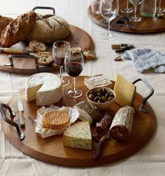 Provence Platters by Australian Design + Marketing are fashioned from repurposed wine barrel lids! This platter can hold your entire cheese and meat platter! Cheese Platters, Food Platters, Cheese Table, Meat And Cheese, Wine Cheese, Antipasto, Charcuterie And Cheese Board, Cheese Boards, Meat Platter