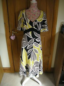 LADIES-SHORT-SLEEVE-CALF-BLACK-YELLOW-CASUAL-SMART-DRESS-KALIKO-SIZE-14-USED