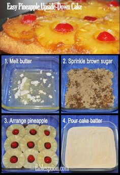 Easy Pineapple Upside-Down Cake // made from a box. Also has low fat alternative and helpful tasty tips.