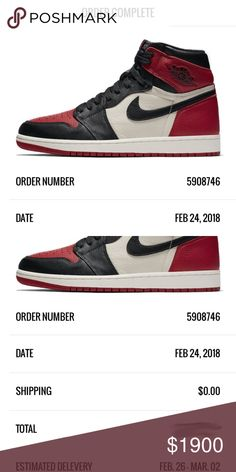 2018 Auth Nike Air Jordan 1 Retro High OG Bred Toe 2018 Authentic Nike Air Jordan 1 Retro High OG Bred Toe Black Red White Sz 10.5  New in box and unworn. BRAND NEW and AUTHENTIC!!!  Size - 10.5 US / 9.5 UK / 44.5 EU Color - Black / Red / White Style - Athletic Sneakers / Basketball Shoes Product Line - Air Jordan 1 Retro High OG  Item will be shipped once it is received. Estimated delivery to receive the item to seller is Feb 26 - Mar 2. Estimated shipment to buyer is either Mar 5 or Mar 6…