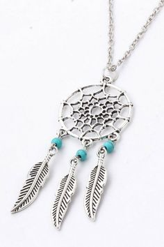 Long Necklace Dream Catcher Turquoise Stones ( FREE SHIPPING )