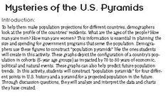 Students construct and interpret population pyramids (age-sex distribution charts) and discuss differences in population characteristics at different points in U.S. history and make projections for the future. Free from Share My Lesson!