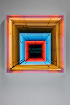Iván Navarro Clamoras en Vano, 2013 Neon, wooden box, paint, mirror, one-way mirror and electric energy 48 × 48 × 10 in 122 × 122 × 25.5 cm Galerie Daniel Templon