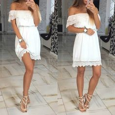 White Patchwork Hollow-out Lace Boat Neck Short Sleeve Mini Dress