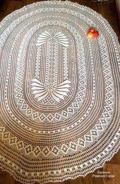 Текстиль, ковры ручной работы. Скатерть овальная крючком Crochet Tablecloth Pattern, Crochet Doilies, Crochet Lace, Thread Crochet, Filet Crochet, Doily Patterns, Crochet Patterns, Crochet Ornaments, Lace Making
