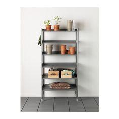 HINDÖ Shelving unit, indoor/outdoor, gray