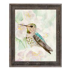 "Click Wall Art 'Hummingbird in Cherry Blossoms' Framed Graphic Art Size: 14"" H x 11"" W x 1"" D"