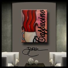 The best in original abstract art, pop art, modern art, sculpture and modern paintings. Large paintings using bright colors and bold lines that make you smile.  Canvas prints are signed by hand and retouched for added dimension.   ARTIST: Thomas C. Fedro  TITLE: Cappucino  SIZE: 24 x 32 x 1 1/2  MEDIUM: Giclee print (Image wraps around edges)  SUPPORT: 100% cotton, museum quality,gallery wrap canvas  STRETCHED AND READY TO HANG DATE: New 2015  Please allow 7-10 days to produce. SHIPPING:...