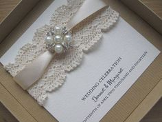 Victorian Lace Style Vintage Chic Wedding Invitation with Pearls - Boxed