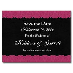 Black and Wine Red Lace Save Date Wedding 08 Postcard