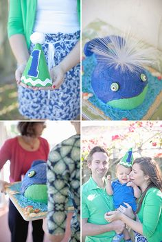 Love the picture of the parents and their little boy wearing theme colored outfits.