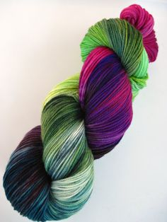 hand dyed yarn hand painted yarn by WeeChickadeeWoolery on Etsy