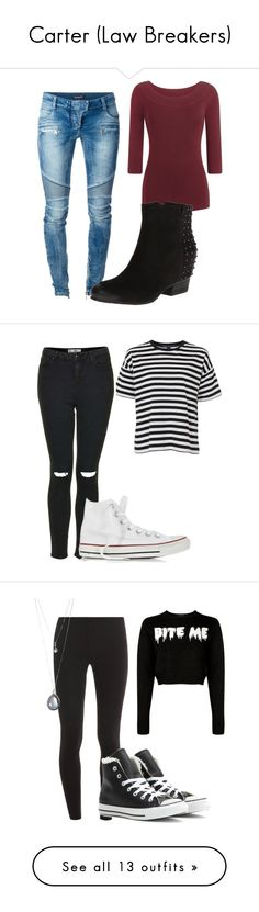 """""""Carter (Law Breakers)"""" by xxxlovexx ❤ liked on Polyvore featuring Balmain, Gentle Souls, French Connection, Topshop, Converse, Splendid, Forever 21, Miu Miu, Jane Norman and H&M"""