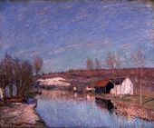 The Loing and the Slopes behind St. Nicaise, February... - Alfred Sisley - www.alfredsisley.org