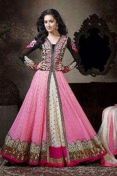 Marvellous Shraddha Kapoor Georgette Pink,White Suit
