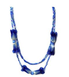 Short Handmade Double Strand Blue Necklace Lampwork by ALFAdesigns