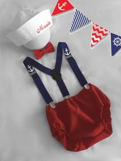Personalised Sailor Birthday Outfit, Baby Boy First Birthday Outfit, Cake Smash Outfit Boy, Baby Photo Prop, Baby Sailor Birthday - Sip and See -
