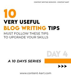 10 Blog Writing Tips - A 10 Days Series - Day 4  Contact us now: support@content-kart.com Visit us at: www.content-kart.com  #marketingteam #marketingguru #marketingderede #contentmarketing #businessinsider #businessgrowth #businessadvice #businessmind #contentment #contentwriters #contentplanning #trendingformat Marketing Guru, Content Marketing, Blog Writing Tips, Contentment, Business Advice, Writing Services, 10 Days, Writer, Writing Tips