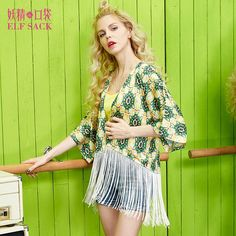 Sleeping Beauty summer female chiffon print royal all-match tassel loose short jacket female