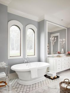 Spa By Sherwin Williams Paint Color Bathroom Design Ideas, Pictures, Remodel and Decor - mindful gray White Bathroom Tiles, Bathroom Paint Colors, Yellow Bathrooms, Bathroom Flooring, Bathroom Furniture, Bathroom Interior, Bathroom Cabinets, Gray And White Bathroom Ideas, Master Bathroom