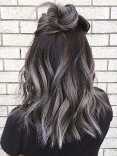 And now, friends, we have been blessed with the ~updated~ trend: Grey ombré hair. Grey Ombré Hair Is The Newest Color Trend And It's Freaking Beautiful Color Ombre Hair, Black To Grey Ombre Hair, Hot Hair Colors, Hair Color Highlights, Hair Color For Black Hair, Hair Color Balayage, Gray Ombre, Ombre Style, Brown Hair