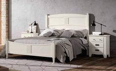 #Cabecero# #Colonial# color blanco lacado para cama de matrimonio, busca en nuestra web: http://www.rusticocolonial.es/