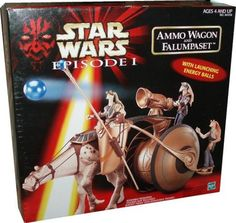 Star Wars Episode 1 Ammo Wagon and Falumpaset by Hasbro. $28.75. Launch an energy ball at invading Trade Federation forces!. Wagon holds extra ammo for battle!. Gungan warrior raises an lowers Battle Cesta and fires energy ball!. For age 4 and up. The Gungan ammo wagon is hauled by a powerful falumpaset creature to the field of combat. Its load of energy balls is unleashed on the army of Trade Federation droids, ripping a hole through the ranks of their heavy armor.