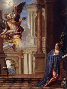 Annunciation. Veronese. 1560.  Oil on canvas. 110 x 87 cm. Fundación Colección Thyssen-Bornemisza. Pedralbes.