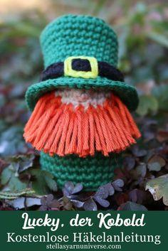 Kleiner Kobold – Kostenlose Häkelanleitung – Stella's Yarn Universe – Knitting Irish Crochet Patterns, Crochet Motif, Crochet Flowers, Doilies Crochet, Doily Patterns, Dress Patterns, Crochet Gratis, Free Crochet, Lucky The Leprechaun