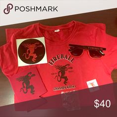 (6pc) Women's FireBall Whiskey Bundle (M) Comes with-- women's shirt, can holder, sticker, tattoo, sunglasses & Keychain Urban Outfitters Tops Tees - Short Sleeve