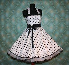 50's vintage dress full skirt white black by Lolablossomclothing, $99.00