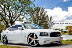 """Dodge Charger lowered on 22"""" CW-5 Matte Black Machined Face by Concavo Wheels, via Flickr"""