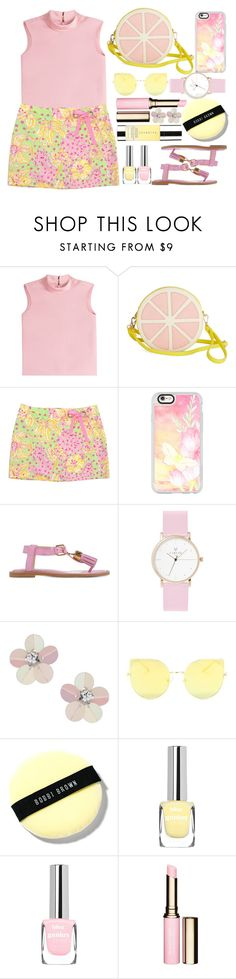 """Pink and Yellow Floral Skirt"" by juliehalloran ❤ liked on Polyvore featuring RED Valentino, Lilly Pulitzer, Casetify, Moschino, Miss Selfridge, Bobbi Brown Cosmetics, Clarins and Cover FX"